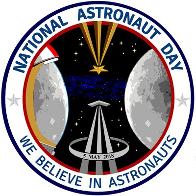 "National Astronaut Day ""Crew Patch"" - May 5th, 2018 - Celebrates Heroic Astronauts with a Mission to Inspire ALL to ""Learn, Create & Explore"" #WeBelieveInAstronauts www.NationalAstronautDay.com"