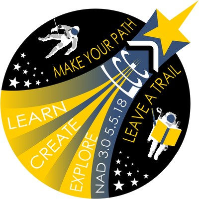 "National Astronaut Day ""Mission Patch"" - May 5th, 2018 - Celebrates Heroic Astronauts with a Mission to Inspire ALL to ""Learn, Create & Explore"" #WeBelieveInAstronauts www.NationalAstronautDay.com"