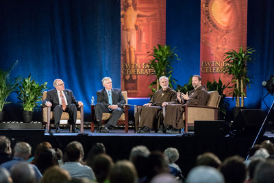 "The Family Talk is always one of the most popular events at EWTN's annual Family Celebration. On stage (l to r) are EWTN Chairman & CEO Michael P. Warsaw, EWTN President & COO Doug Keck, EWTN Chaplain and ""The Church Universal"" Host Fr. Joseph Mary, MFVA, and ""Life on the Rock"" Co-Host Father Mark Mary, MFVA."