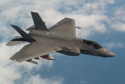 The final SDD Test flight was piloted by F-35 Test pilot Peter Wilson, April 11, 2018. The F-35C completed a mission to collect loads data while carrying external 2,000-pound GBU-31 Joint Direct Attack Munitions (JDAM) and AIM-9X Sidewinder heat-seeking missiles. (Photo by Lockheed Martin)