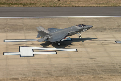 F-35 aircraft, CF-2, completed the final SDD flight at Naval Air Station Patuxent River, Maryland, April 11, 2018. The F-35C completed a mission to collect loads data while carrying external 2,000-pound GBU-31 Joint Direct Attack Munitions (JDAM) and AIM-9X Sidewinder heat-seeking missiles. (Photo by Lockheed Martin)