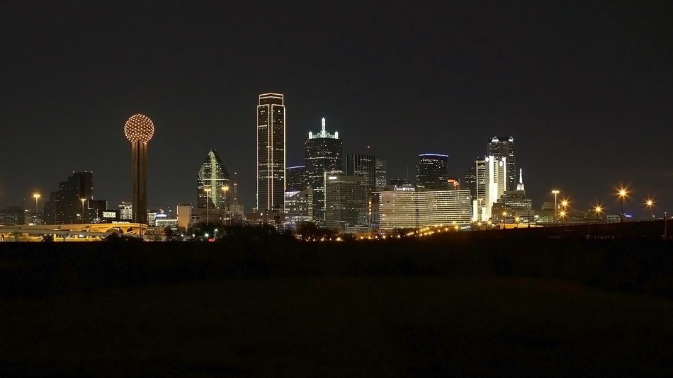 "The Dallas skyline was lit up in honor of #BeGolden, carrying the message to ""treat others how you want to be treated."""