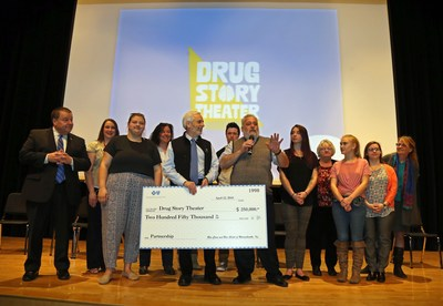 Quincy Mayor Thomas P. Koch and Blue Cross Blue Shield of Massachusetts president and CECO Andrew Dreyfus joined Dr. Joseph Shrand and the cast and creators of Drug Story Theater, to celebrate the expansion of the program, which educates middle school students on the brain science behind addiction (PRNewsfoto/Blue Cross Blue Shield MA)