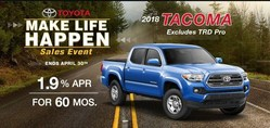 flyer for the Make Life Happen sales event, which is happening now at Roberts Toyota.