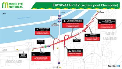 Entraves R-132 (secteur pont Champlain) (Groupe CNW/Ministère des Transports, de la Mobilité durable et de l'Électrification des transports)
