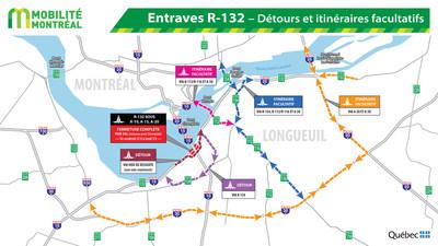 Entraves R-132 - Détours et itinéraires facultatifs (Groupe CNW/Ministère des Transports, de la Mobilité durable et de l'Électrification des transports)