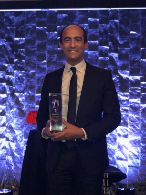 Ahmed Helmy, Director - Advanced Solution Architect International Market, Avaya, collects Gold award for Avaya Happiness Index on Blockchain during Edison Awards 2018. (PRNewsfoto/Avaya Newsroom)