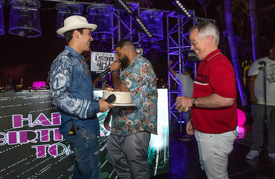 (From Left to Right), Performers Austin Mahone and DJ Khaled with Thomas J Henry Sr.