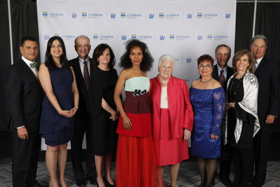 From left: Lehman College President José Luis Cruz and his wife, Dr. Rima Brusi; honorees Christopher Stavrou and Joanne Walsh Stavrou; honoree Kerry Washington; honoree Wendy Lehman Lash; Lehman College Foundation Chair Myrna Rivera; honorees Ivan and Phyllis Seidenberg; and Lehman College Foundation Vice Chair Ira Cohen
