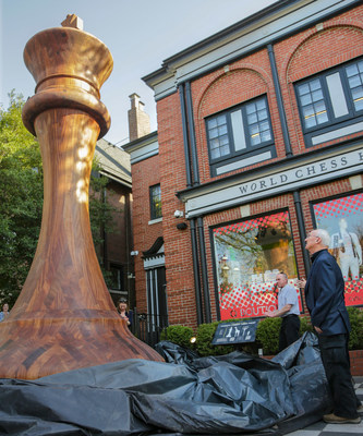 The new Guinness World Record for the world's largest chess piece, a Staunton King measuring 20 feet tall, sits outside its home at the World Chess Hall of Fame in Saint Louis, MO.