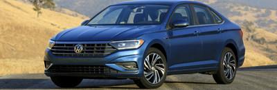 Side profile view of blue 2019 Volkswagen Jetta