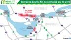 Entraves pour la fin de semaine du 13 avril (Groupe CNW/Ministère des Transports, de la Mobilité durable et de l'Électrification des transports)