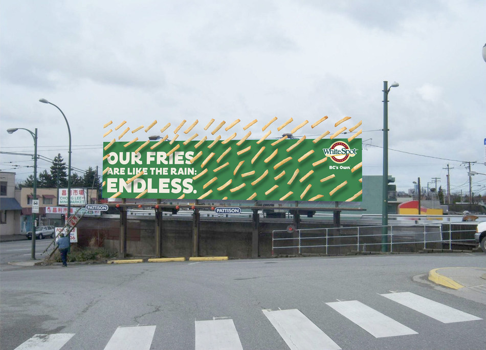'OUR FRIES ARE ENDLESS, LIKE THE RAIN.' WHITE SPOT, BC'S OWN. (CNW Group/White Spot)