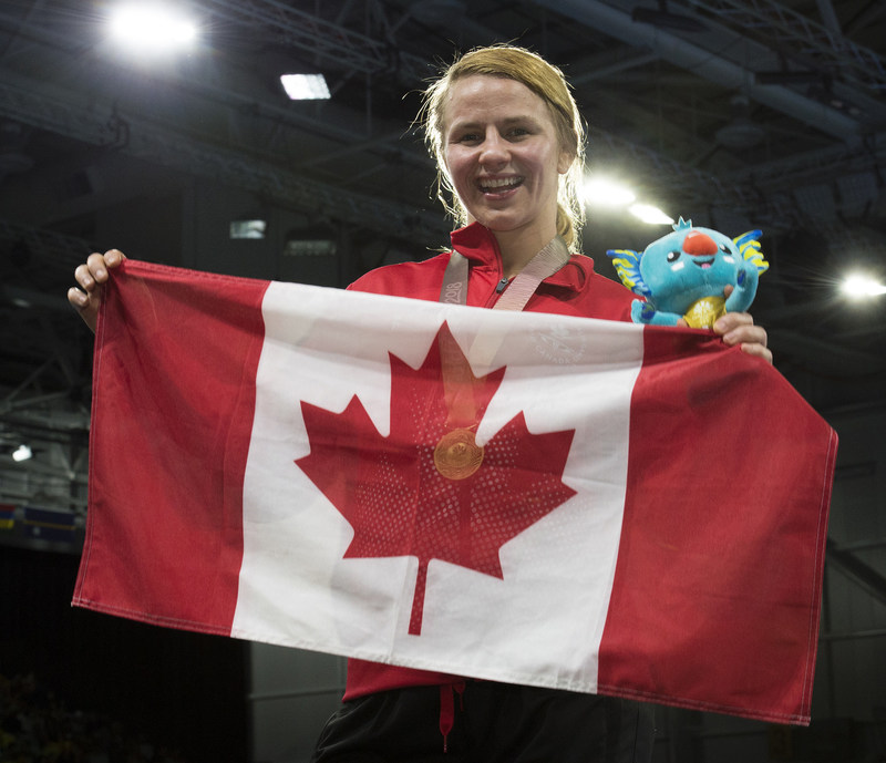 Commonwealth Wrestling Champion Erica Wiebe named Canadian Team Flag Bearer for the Gold Coast 2018 Closing Ceremony. (CNW Group/Commonwealth Games Association of Canada)