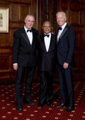 Honored at the 39th Annual Common Wealth Awards of Distinguished Service in Wilmington, Del., from left, are Ron Chernow, historic biographer; Dr. Henry Louis Gates, Jr., literary scholar, distinguished filmmaker, and cultural critic; President Joseph R. Biden, Jr.