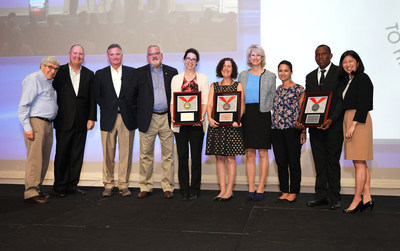 Henry Schein, Inc. awarded its Henry Schein Cares Medals in the Medical Category. From left is Chairman and CEO Stan Bergman, Bill Barr, and Brad Connett of Henry Schein; Paul Hamann and Mary Poliwka  of The Night Ministry (Gold Medal); Dr. Mary Wirshup and Kathleen Aceto, RN of Community Volunteers in Medicine (Bronze Medal); Racha Yehia and Dr. Samuel Bernard of Care 2 Communities (Silver Medal); and Jennifer Kim Field of Henry Schein.