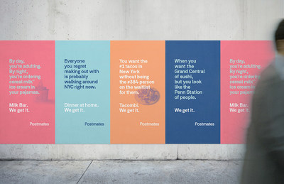 "The ""We Get It"" campaign in New York is inspired by the order habits of customers as well as some of Postmates' most popular merchants in the city. Brands involved in this campaign are by CHLOE., Halal Guys, Milk Bar, Shake Shack, Tacombi and The Meatball Shop."