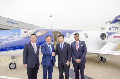 CEO of Honsan General Aviation Co. Ltd. Dr. Cheng Qian, Chairman of Honsan General Aviation Co. Ltd. Mr. Zhou Yuxi, Honda Aircraft Company President and CEO Mr. Michimasa Fujino and Honda Aircraft Company Sales Director Mr. Vishal Hiremath