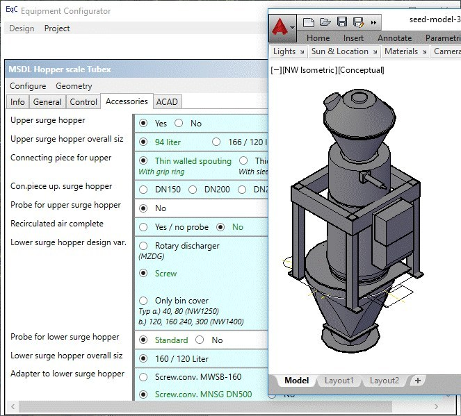 Equipment Configurator's user interface and dynamic equipment view in AutoCAD