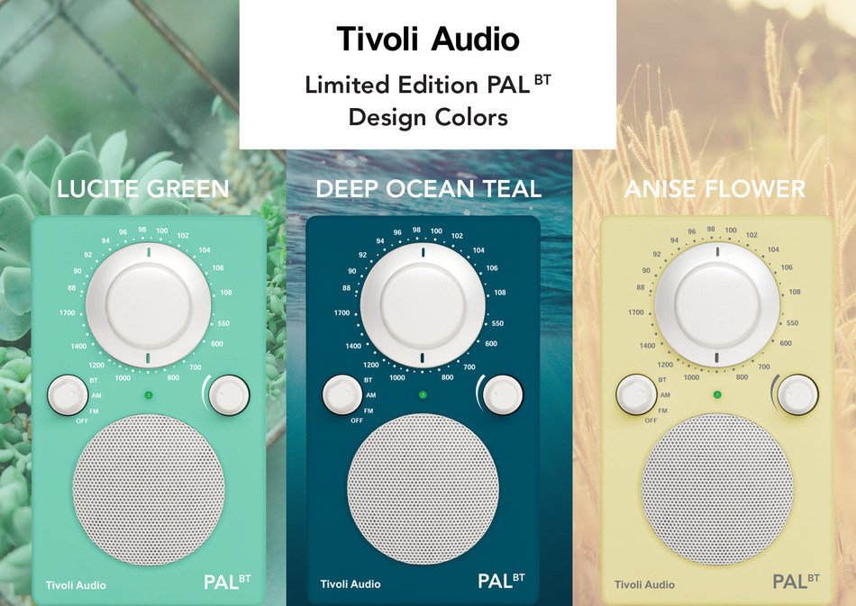 Tivoli Audio Limited Edition PAL BT Colors in Lucite Green, Deep Ocean Teal, and Anise Flower.