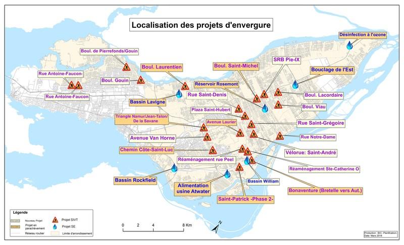 Localisation des projets d'envergure (Groupe CNW/Ville de Montréal - Cabinet de la mairesse et du comité exécutif)