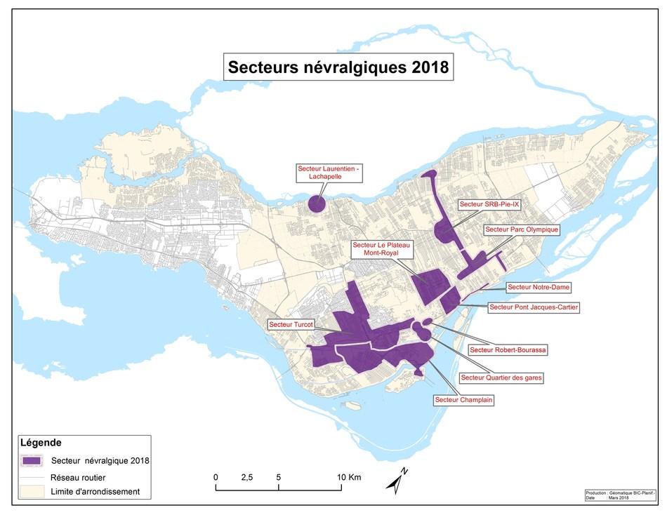 Secteurs névralgiques 2018 (Groupe CNW/Ville de Montréal - Cabinet de la mairesse et du comité exécutif)