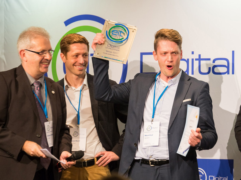 Last year's EIT Digital Challenge winner ApiOmat rejoice at receiveing a growth package worth €100,000 (PRNewsfoto/EIT Digital)