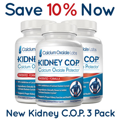 """Kidney C.O.P. """"New 3-Pack"""" (90 Day Supply) Now Available When Ordering Through Amazon. - Customers Save 10%!"""