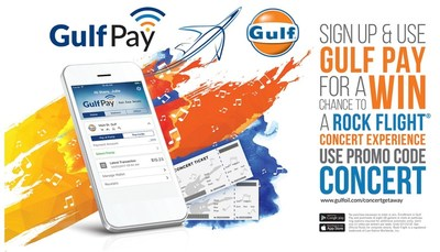 "Through July 15th, consumers who download and sign up for Gulf's mobile payment app, Gulf Pay, with the promo code ""concert"" will automatically be entered for a chance to win two tickets to any Live Nation concert at a Live Nation venue in the United States."