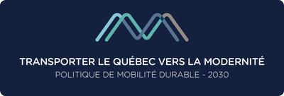 Logo : Transporter le Québec vers la modernité - Politique de mobilité durable - 2030 (Groupe CNW/Cabinet du ministre des Transports, de la Mobilité durable et de l'Électrification des transports)