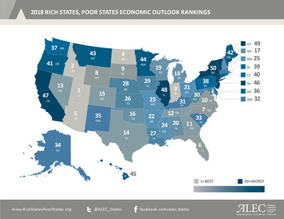 U.S. Map showing state economic outlook rankings. Rich States Poor States develops this annual economic outlook based on 15 equally weighted policy variables. Find out more at www.RichStatesPoorStates.org