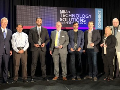 2018 Tech All-Stars (From Left to Right): Rajesh Bhat / Roostify, Sean Faries, CEO, Land Gorilla Harry Gardner / Docutech, Nima Ghamsari / Blend, Pat Kinsel / Notarize Inc., Wendy Peel / ReverseVision