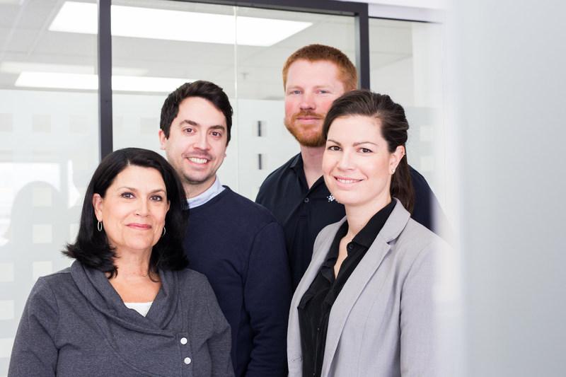 De gauche à droite - Cofondateurs de XpertSea: Sylvie Lavigne (vice-présidente), François Robitaille (chef des finances), Cody Andrews (ingénieur) et Valérie Robitaille (chef de la direction). Photo gracieuseté de XpertSea. (Groupe CNW/XpertSea)