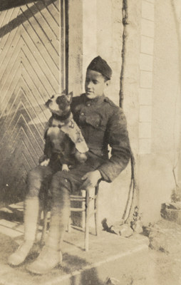 "But before he was a hero, Stubby was homeless scrounging for scraps on the streets of New Haven, Conn. in 1917-Until he was taken in by Private First Class Robert Conroy of the 102nd Infantry Regiment, 26th ""Yankee"" Division. Stubby saw frontline action in WWI. He found wounded Soldiers, saved an entire company by alerting the men to don gas masks and even caught a German spy. His exploits made front-page news and earned him the rank of Sergeant. (Photo: Courtesy of Connecticut State Library)"