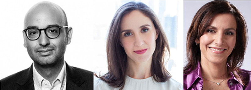 Media reporters Michael Calderone, of Politico, and Emily Steel, of The New York Times, will be in conversation with Ioanna Roumeliotis, reporter with CBC News' The National, at the Canadian Journalism Foundation J-Talk on April 24 in Toronto. (CNW Group/Canadian Journalism Foundation)