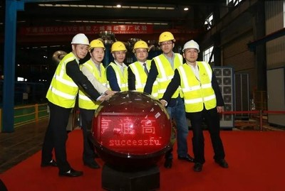 Members of the Management Team in Hengtong Submarine Power Cable manufacturing plant celebrating the successful test of the cable.