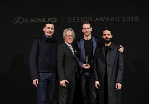 Lexus Design Award 2018. From left: Simone Farresin of Formafantasma (Mentor), Yoshihiro Sawa (President, Lexus International), Elliott P. Montgomery of Extrapolation Factory (Grand Prix Winner), Andrea Trimarchi of Formafantasma (Mentor)