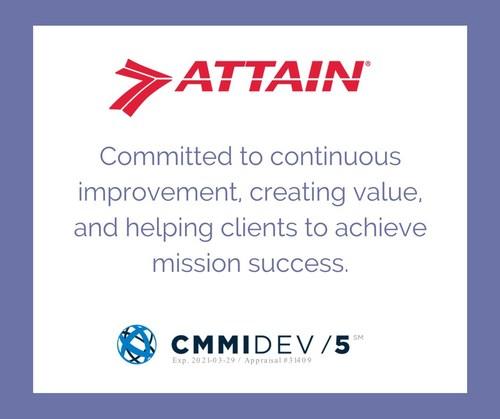 Attain achieves CMMI-DEV ML5, the highest level of development capability maturity.