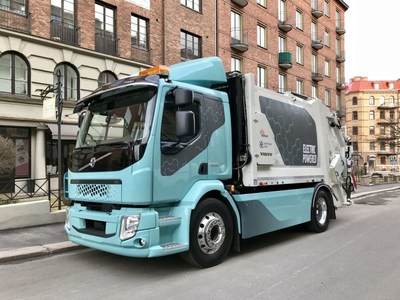 First drive with new all-electric truck of Volvo Trucks, the Volvo FL Electric, in Gothenburg. Photo: INFOkontor (PRNewsfoto/INFOkontor)