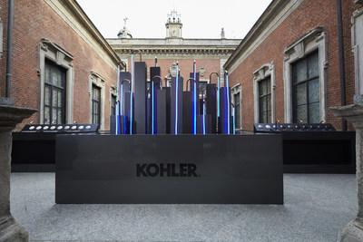 Los acabados Ombré de Kohler aprovechan las superficies minimalistas y pulcras para destacar la elegante transición entre el color y los elementos gráficos. Entre los curados conjuntos de combinaciones de color figuran Dorado Rosa a Níquel Pulido y Titanio a Dorado Rosa. (PRNewsfoto/Kohler Co.)