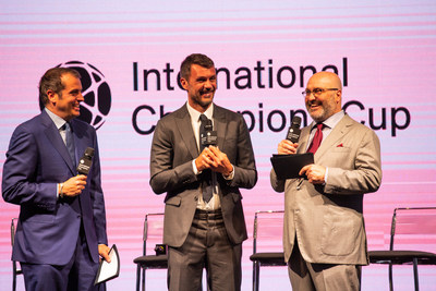 Italian soccer legend Paolo Maldini is flanked by ESPN's Max Bretos (L) and Relevent Sports' Co-Founder and Executive Chairman Charlie Stillitano (R) at today's announcement of the 2018 International Champions Cup.