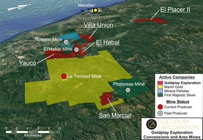 Figure 01 – Location of San Marcial Project and Goldplay Exploration Concessions (CNW Group/Goldplay Exploration Ltd)