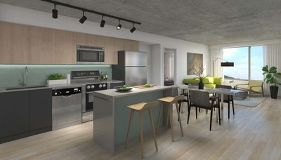 1235 Marlborough - unit interior - kitchen and living room area. (CNW Group/The Minto Group)