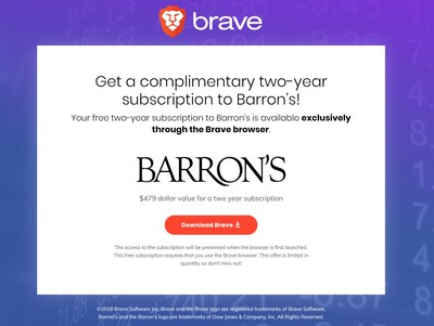 Dow Jones Media Group partners with Brave Software to offer premium content to users: Barron's subscription.