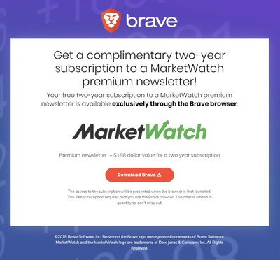 Dow Jones Media Group partners with Brave Software to offer premium content to users: MarketWatch newsletter.