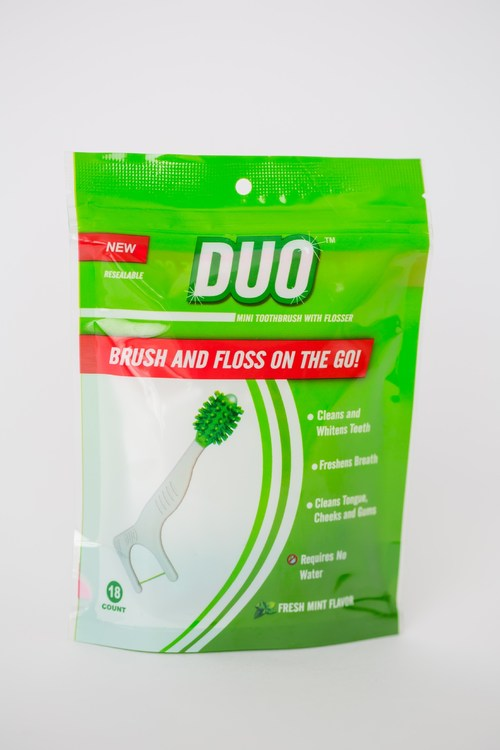 DUO smile flosser and toothbrush.