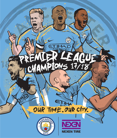 O Manchester City, parceiro da Nexen Tire, é o campeão da Primeira Liga Inglesa de 2017/18 (PRNewsfoto/Nexen Tire)