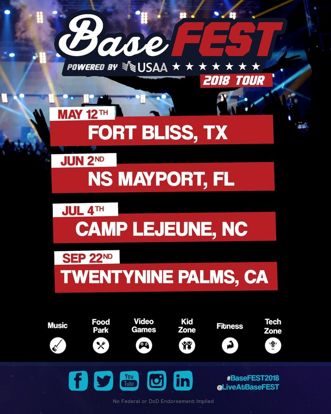 BASEFEST POWERED BY USAA, TO HIT FOUR (4) MAJOR MILITARY BASES IN 2018