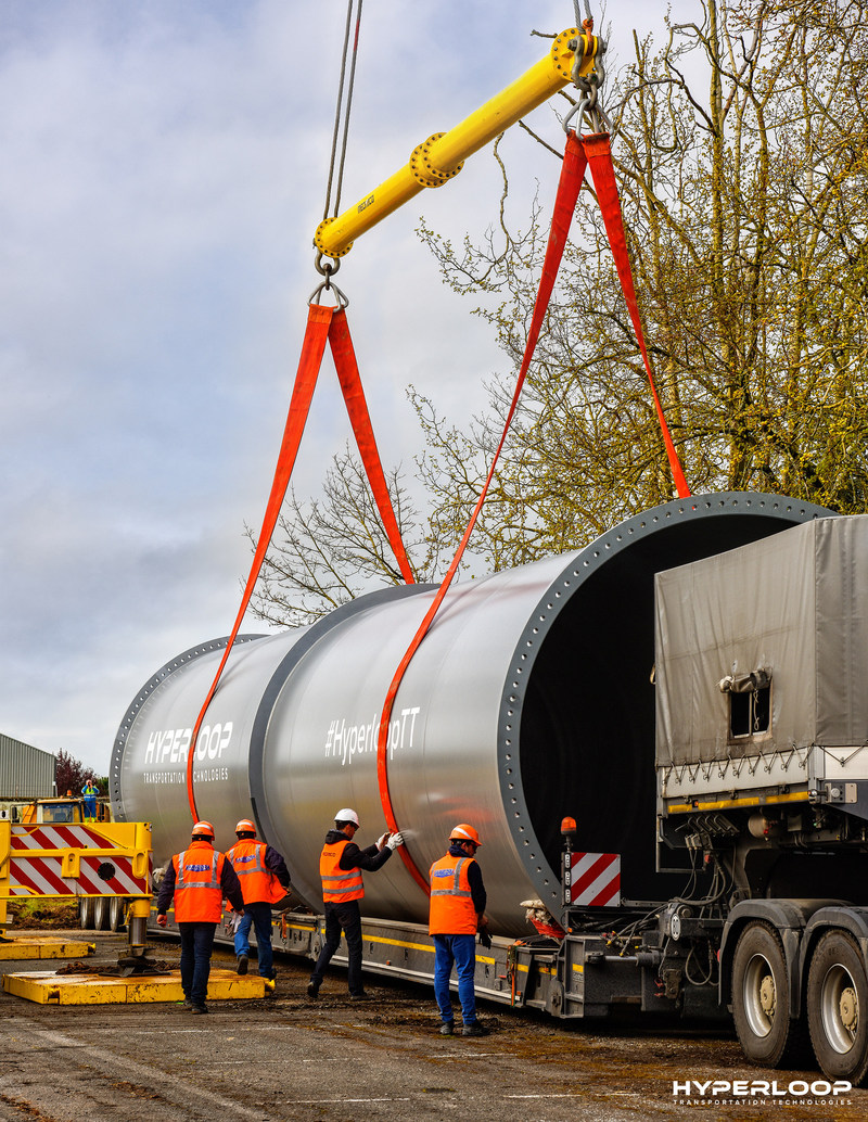 HyperloopTT Full-Scale Tubes Unloaded in Toulouse, France