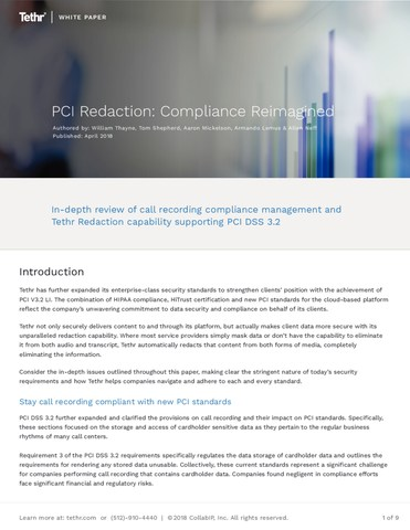 "TETHR, Austin, Texas. ""PCI Redaction: Compliance Reimagined"" White Paper"